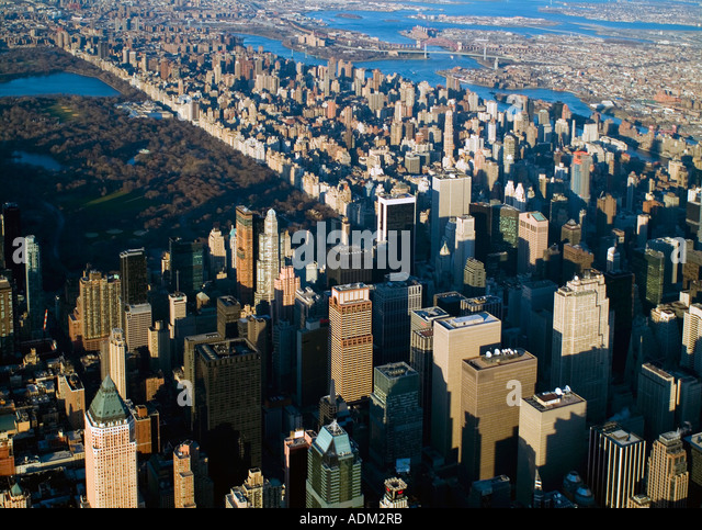 aerial view above midtown Manhattan New York City and Central Park - Stock Image