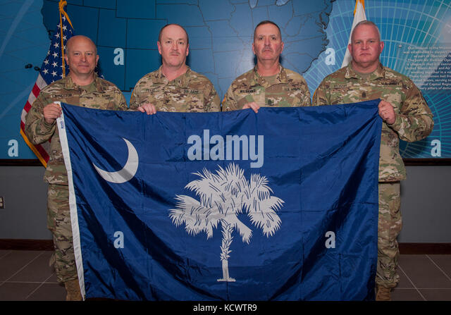 (L-R) U.S. Army Maj. Gen. Robert E. Livingston, Jr., the adjutant general for South Carolina, U.S. Army Col. James - Stock Image