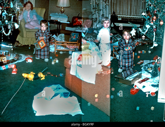 New Jersey, USA - Family at Home, Christmas, Baby, with sisters .'Old Family Photos' 1950s - Stock Image