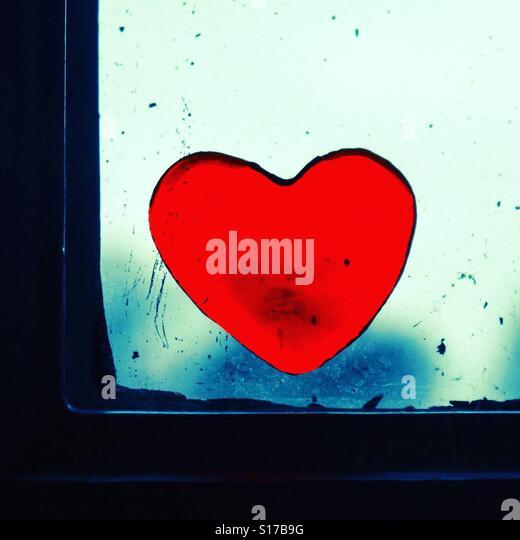 Heart on window - Stock-Bilder