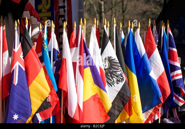 Flags on display at a fan shop, Bobsleigh World Cup, Winterberg, Sauerland, Germany, Europe - Stock-Bilder