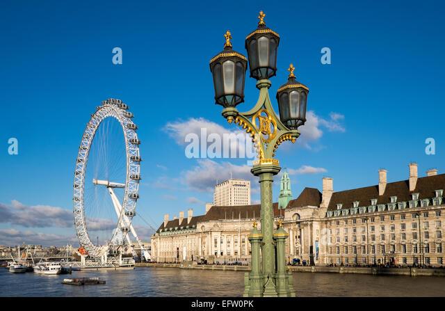 The London Eye and Old County Hall, London, England, UK - Stock Image