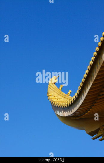 Cornice of Golden Summit Palace, Golden Summit, Mount Emei, Leshan, Sichuan , China - Stock Image