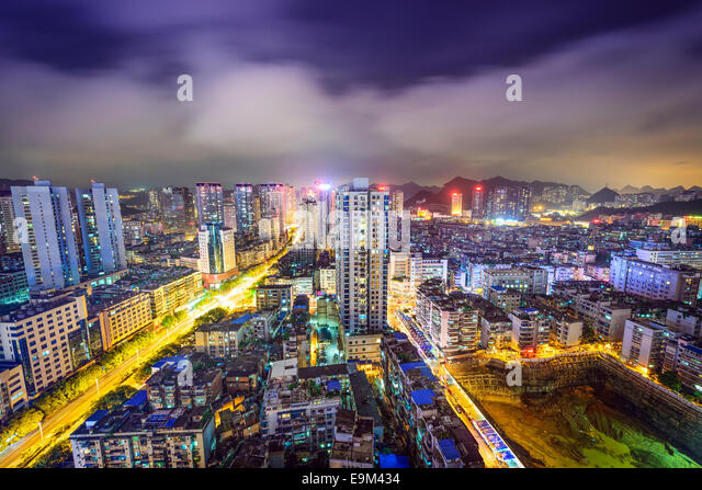Guiyang, China cityscape at night. - Stock-Bilder