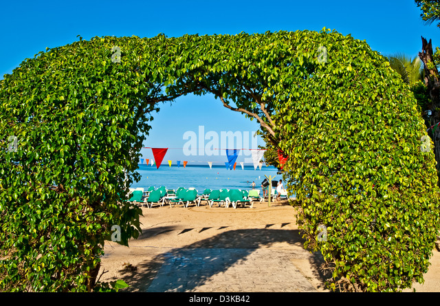 Hedge shaped to form an arch leading to Negril beach, Riu Palace Tropical Bay all-inclusvie resort - Stock Image