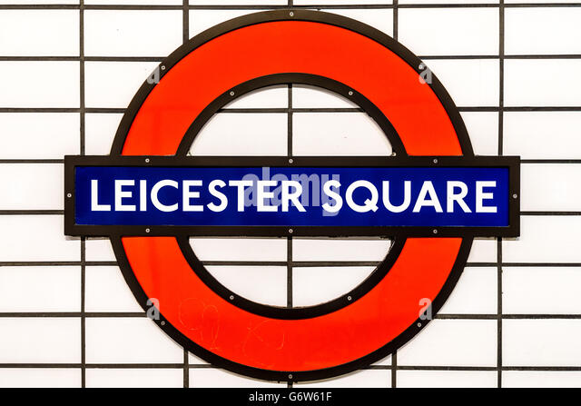 Sign on the platform at Leicester Square underground station in London, England - Stock Image