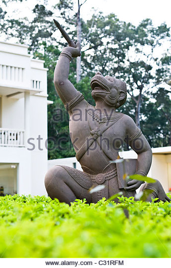 Statue outside the Foreign Correspondent Club, Siem Reap, Cambodia. - Stock Image