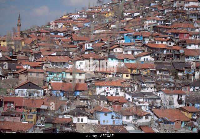 Turkey Cappadocia Ankara low income housing on side of mountain - Stock Image