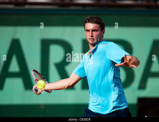 28.05.2012 Paris, France. Gilles Simon in action against Ryan Harrison on day 2 of the French Open Tennis from Roland - Stock Image