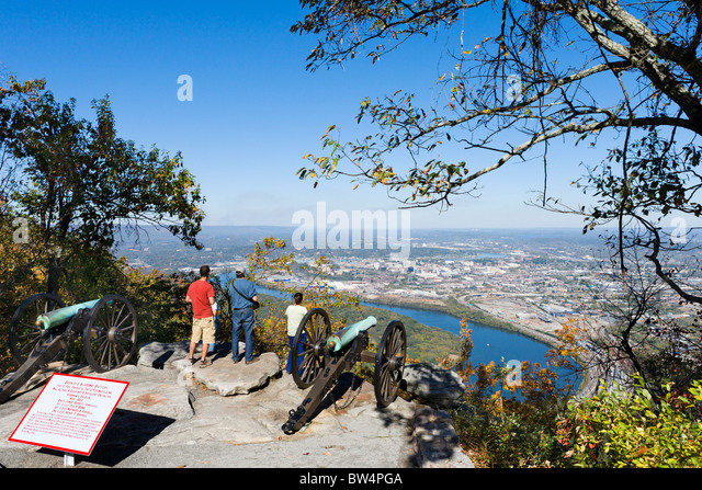 View towards Chattanooga and the Tennessee River from Point Park, Lookout Mountain, Chattanooga, Tennessee, USA - Stock Image