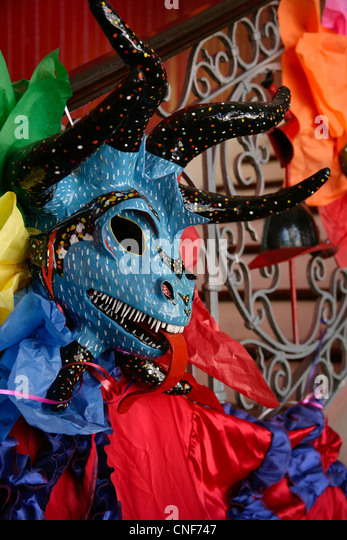 Colorful Vejigante carnival mask in Puerto Rico - Stock Image