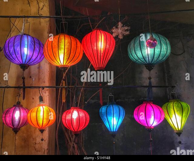 Beautiful lanterns lit outside a shop in Hoi An Vietnam, South East Asia. - Stock Image