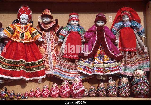 Russia former Soviet Union Pushkin souvenir dolls matrushka dolls for sale near Catherine Palace - Stock Image