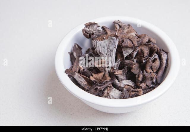 White bowl full of Horn of Plenty mushrooms. Isolated - Stock Image