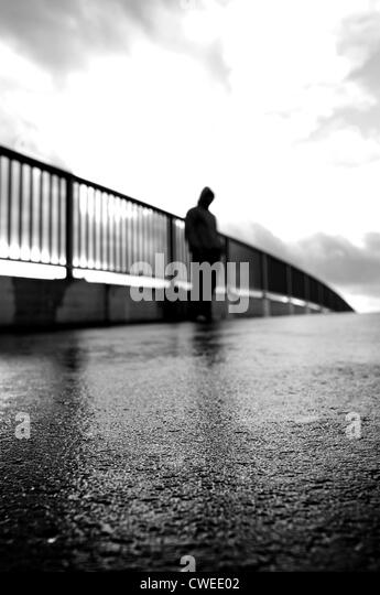 solitude,loneliness,undetected,depression,urban - Stock Image