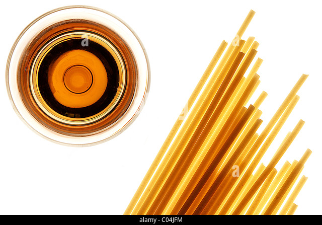 spagetti and white wine on white background - Stock Image