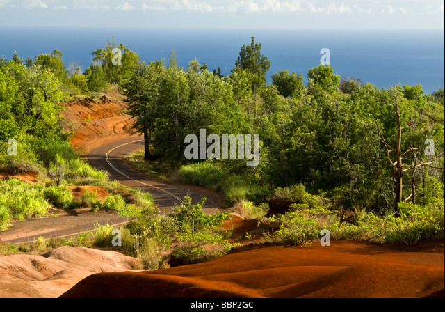 Vista across Kauai to the Pacific Ocean along Waimea Canyon Drive Kauai Hawaii USA - Stock Image