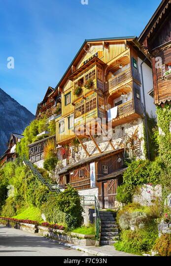 Hallstatt village - typical house, Salzkammergut, Upper Austria - Stock Image