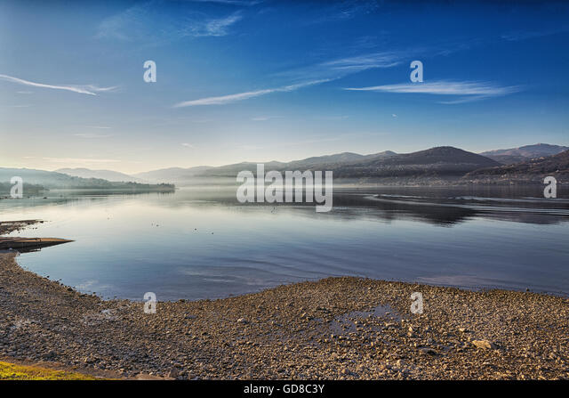 Landscape on the Major Lake in a quiet winter afternoon with fog at the horizon, Ispra - Varese, Lombardy - Italy - Stock Image