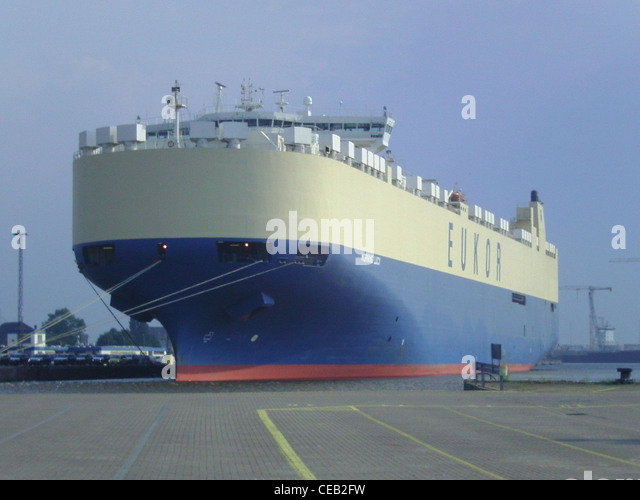 car carrier Morning Lucy of EUKOR shipping company in the port of Bremerhaven, Germany - Stock Image