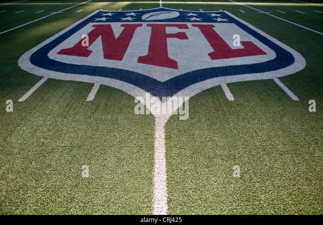 NFL logo on the field in American Football stadium. - Stock Image