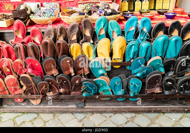 KORNELIMUENSTER, GERMANY, 18th June, 2017 - shoes for sale on the historic fair of Kornelimuenster. - Stock Image