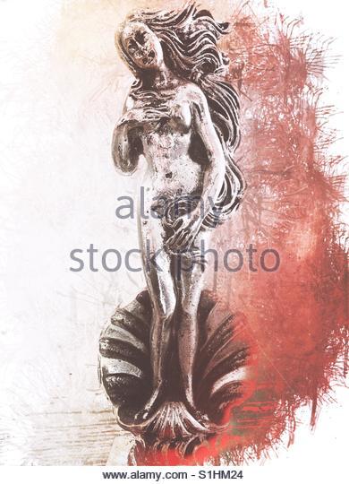 small silver statue of Greek Goddess Aphrodite - Stock Image