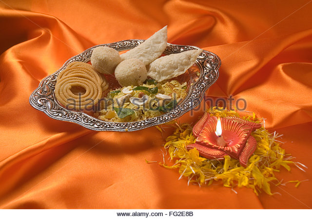 Karanji laddo chakali and kaaju chivda eatable during Diwali deepawali festival , India - Stock Image