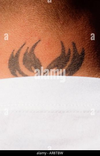 neck tattoo - Stock-Bilder