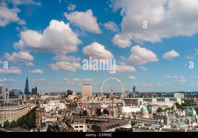 View of London skyline across Westminster. - Stock Image