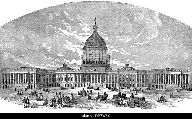 geography travel USA Washington D.C. buildings Capitol wood engraving 19th century building people architecture - Stock Image