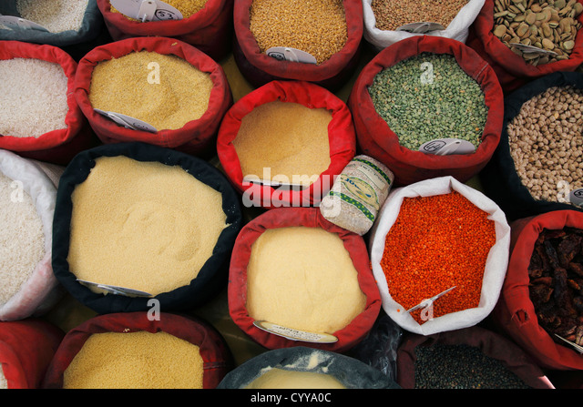 Semolina couscous wheat for sale on food market stock image