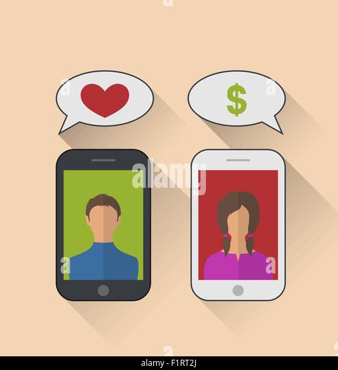 Fake relationship, woman with dollar sign instead of the heart - Stock Image