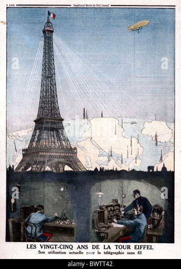 Le Petit Journal illustration 1914 Eiffel tower Paris France Europe historical historic history magazine co - Stock Image
