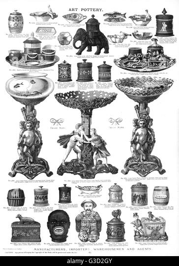 Art pottery, Plate 82, showing a range of styles and patterns, including human and animal figures, and ornate containers. - Stock-Bilder