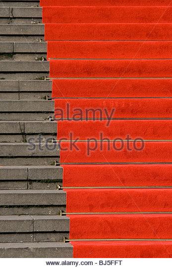 Red carpet on stairs - Stock-Bilder