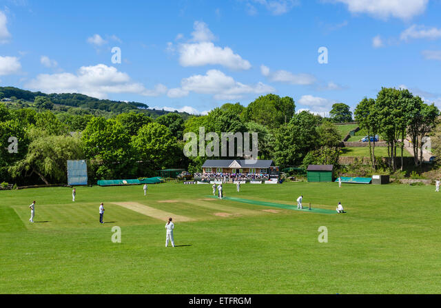 Sunday afternoon cricket in the village of Low Bradfield, Sheffield District, South Yorkshire, England, UK - Stock Image