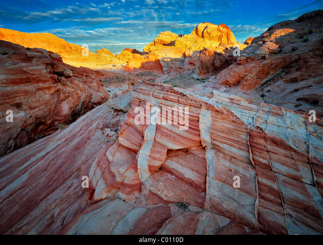 Colorful rocks and sunrise. Valley of Fire State Park, Nevada - Stock-Bilder