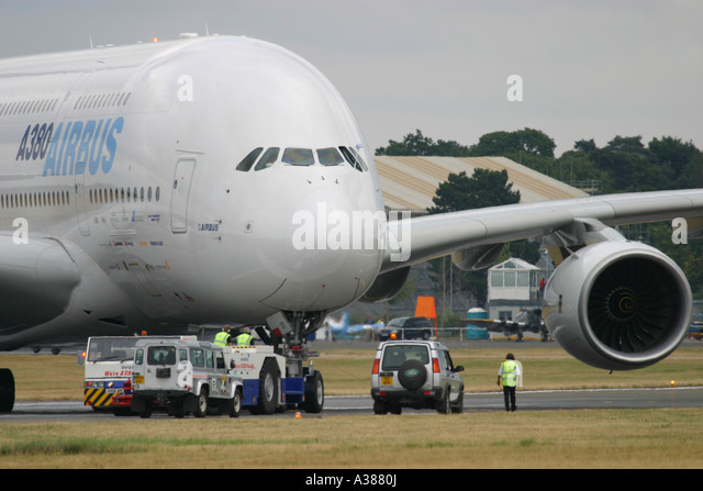 Close-up of Airbus A380 at Farnborough International Airshow 2006 UK - Stock Image