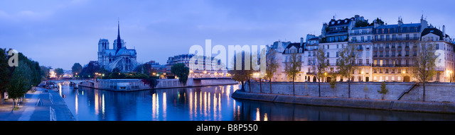 Notre Dame viewed over the river Seine Paris France - Stock Image