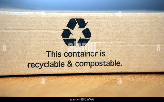 cardboard box which can be recycled and composted - Stock Image