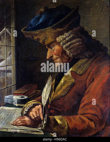 Anonymous, 18th century  Portrait of Voltaire (1694-1778) in his Study - Stock Image