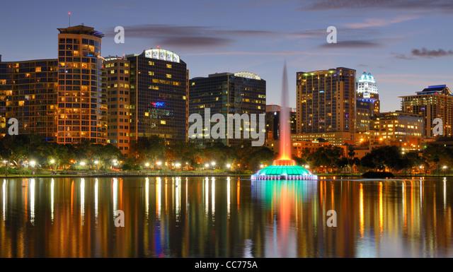 Skyline of Orlando, Florida from lake Eola. - Stock Image