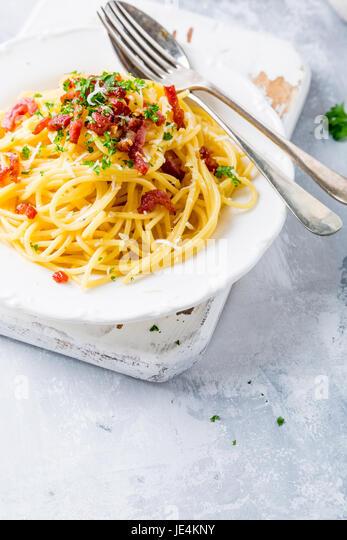 Italian pasta Carbonara - Stock Image