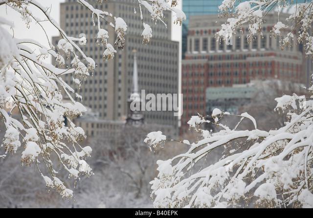 Boston Public Garden in winter. - Stock Image