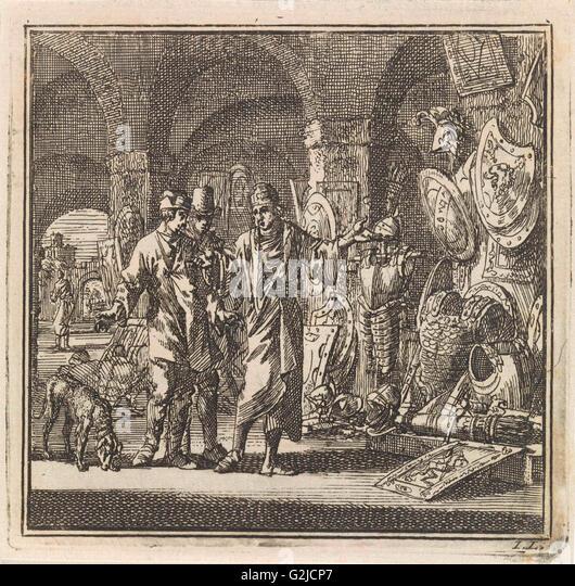 Man shows two men exhibited weapons, Jan Luyken, wed. Arentsz & Pieter Cornelis van der Sys (II), 1711 - Stock Image