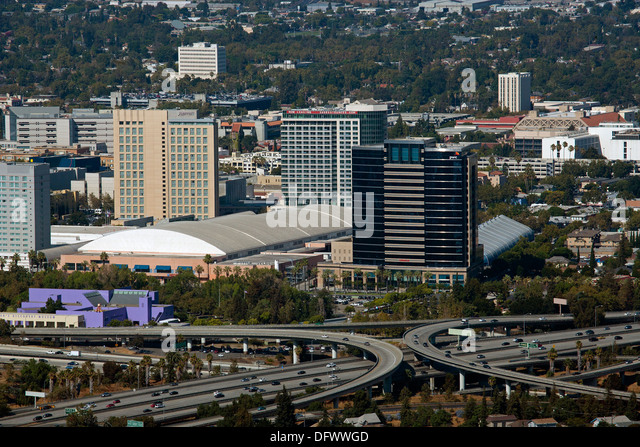 aerial photograph dowtown San Jose, Santa Clara, California - Stock Image