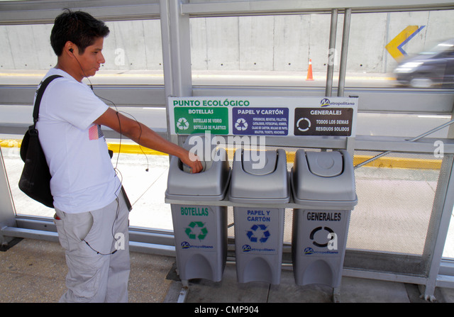 Peru Lima Paseo de la Republica Ricardo Palma Estacion station Metropolitano Bus Line Hispanic boy teen environment - Stock Image