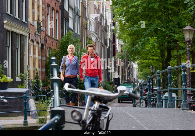Couple in amsterdam - Stock Image