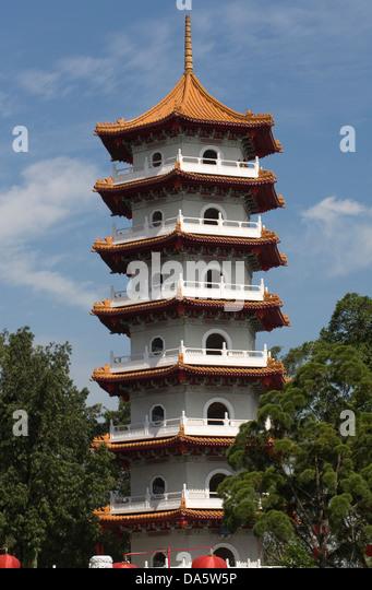 Asia, Singapore, Jurong,Chinese Garden,Pagoda - Stock Image